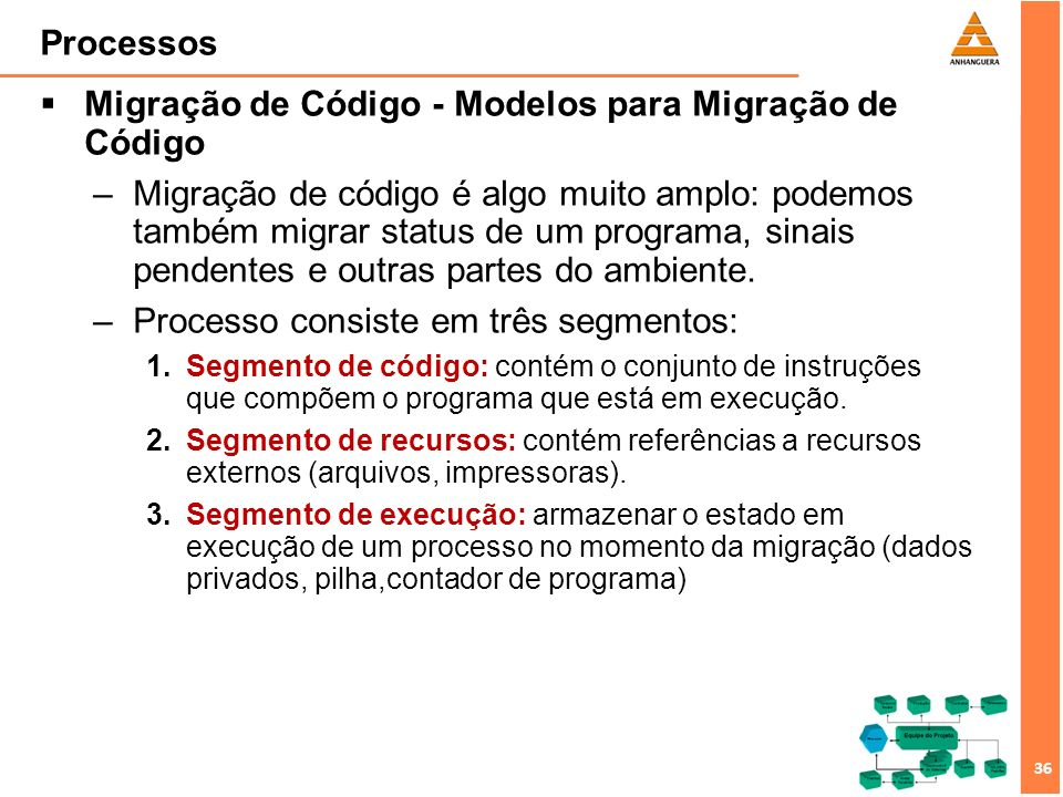 37 Processos Migração de Código - Modelos para Migração de Código –Mobilidade pode ser de dois tipos: 1.Mobilidade Fraca: possível transferir somente o segmento de código, junto com alguns dados de inicialização.