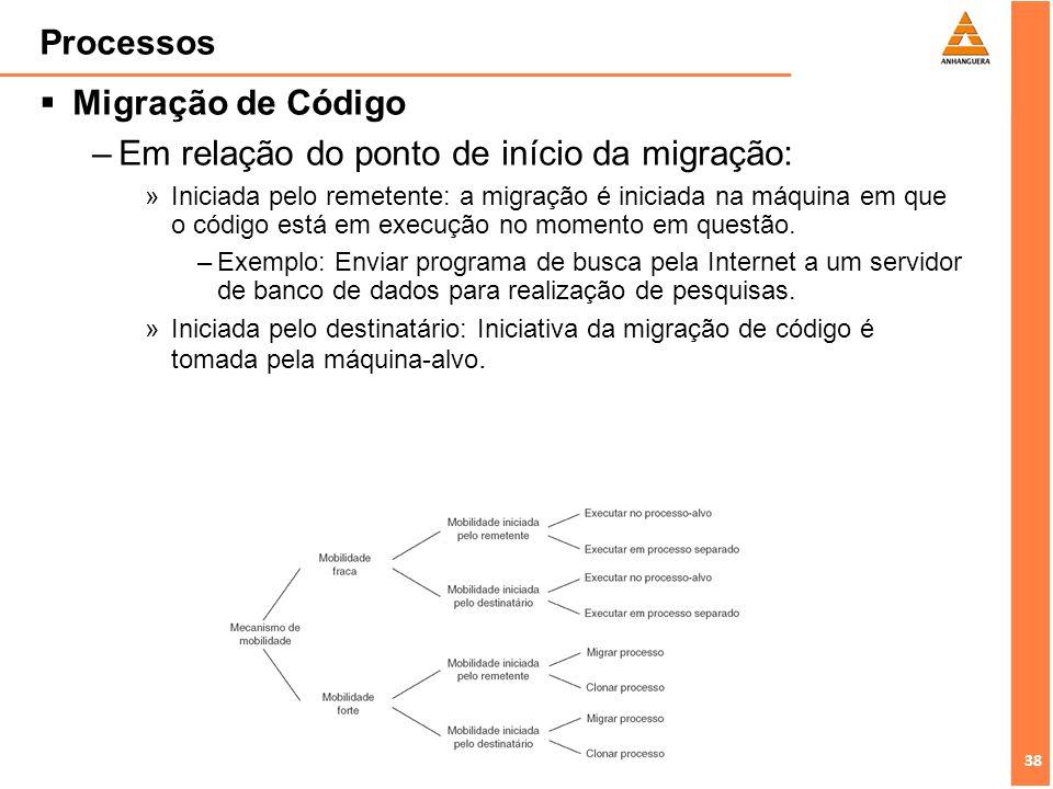 38 Processos Migração de Código –Em relação do ponto de início da migração: »Iniciada pelo remetente: a migração é iniciada na máquina em que o código