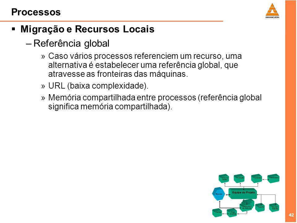 43 Processos Migração e Recursos Locais –Várias combinações entre vinculação processo- recurso e recurso-máquina.