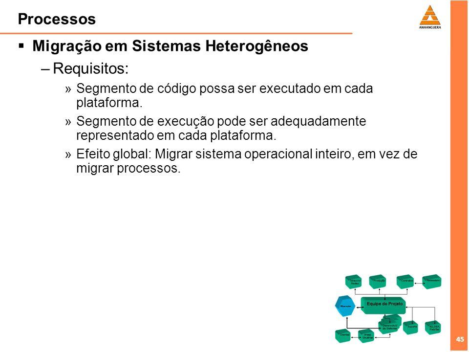 45 Processos Migração em Sistemas Heterogêneos –Requisitos: »Segmento de código possa ser executado em cada plataforma. »Segmento de execução pode ser