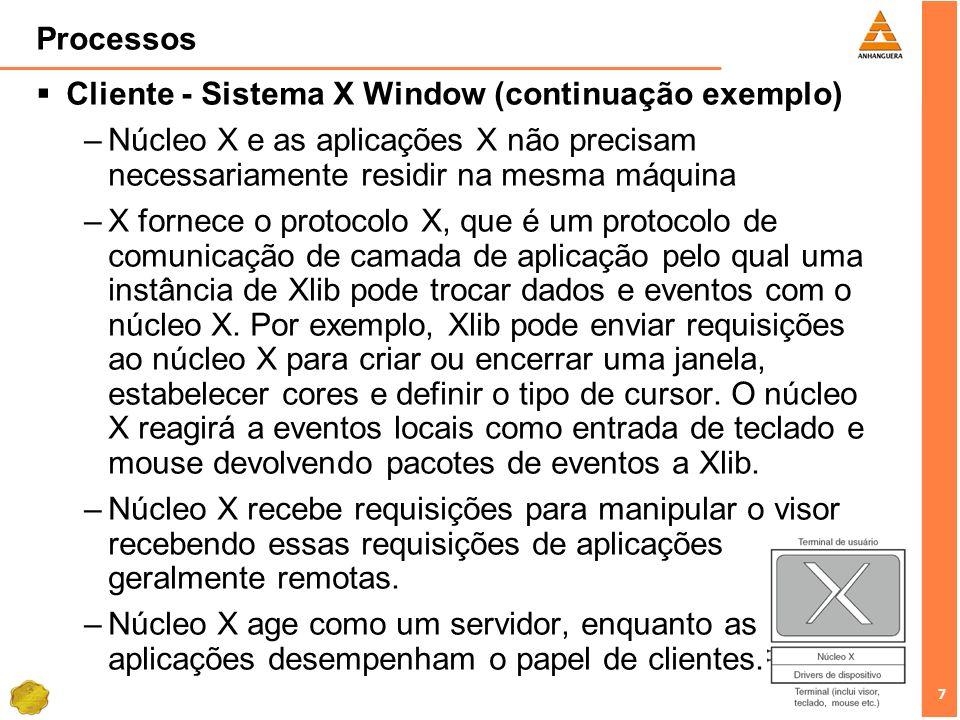 7 7 Processos Cliente - Sistema X Window (continuação exemplo) –Núcleo X e as aplicações X não precisam necessariamente residir na mesma máquina –X fo