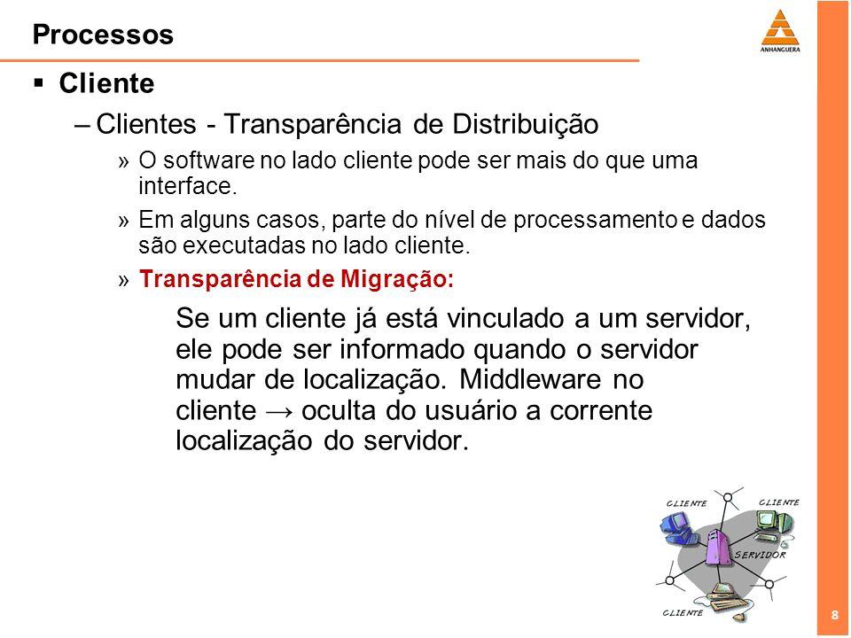 9 9 Processos Cliente –Clientes - Transparência de Distribuição »Transparência a falha: –Middleware cliente pode ser configurado para tentar a conexão com um servidor repetidas vezes, ou tentar um outro servidor depois de fracassar determinado número de tentativas.