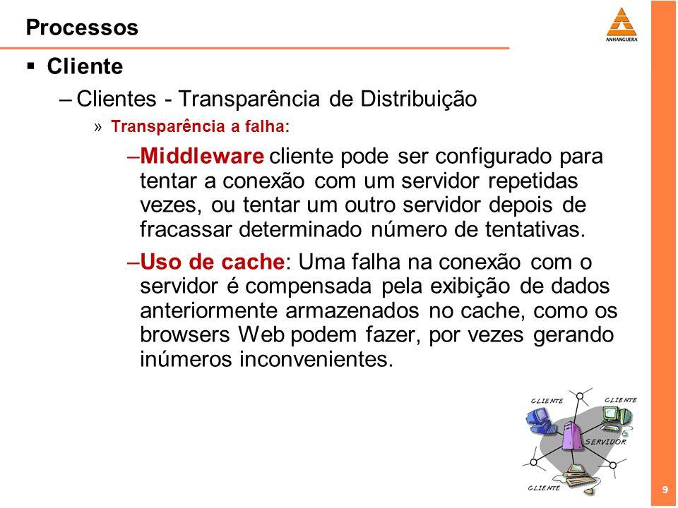 9 9 Processos Cliente –Clientes - Transparência de Distribuição »Transparência a falha: –Middleware cliente pode ser configurado para tentar a conexão