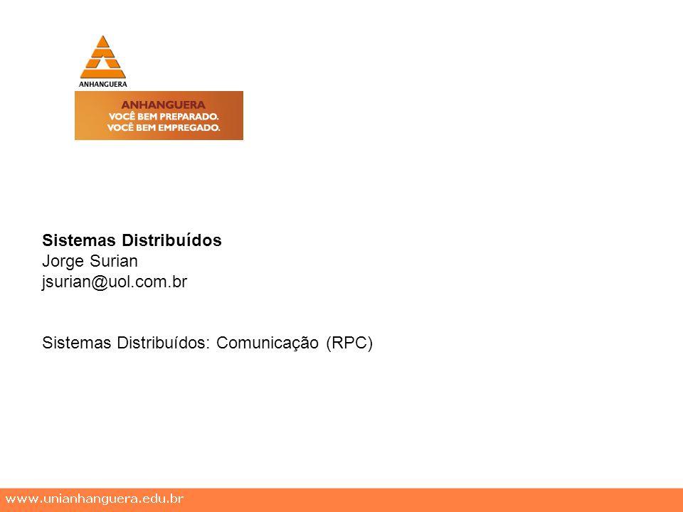 Sistemas Distribuídos Jorge Surian jsurian@uol.com.br Sistemas Distribuídos: Comunicação (RPC)