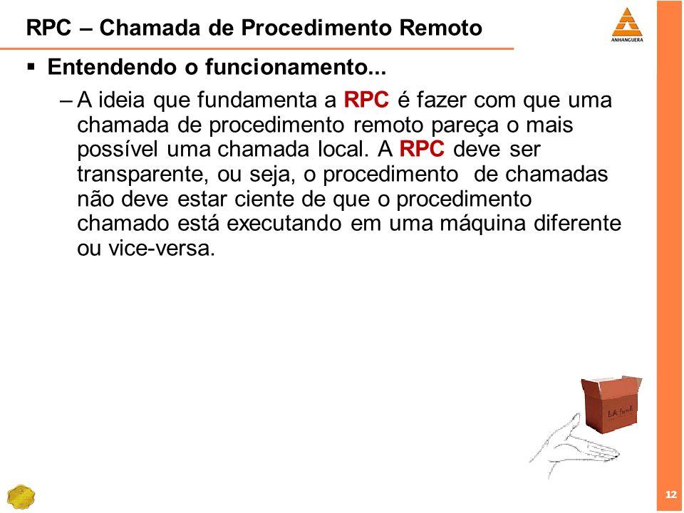 12 RPC – Chamada de Procedimento Remoto Entendendo o funcionamento... –A ideia que fundamenta a RPC é fazer com que uma chamada de procedimento remoto
