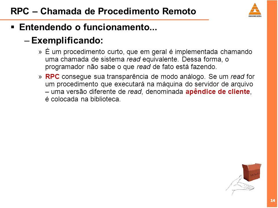 14 RPC – Chamada de Procedimento Remoto Entendendo o funcionamento... –Exemplificando: »É um procedimento curto, que em geral é implementada chamando