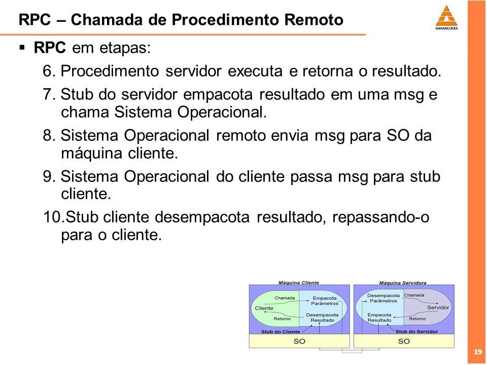 19 RPC – Chamada de Procedimento Remoto RPC em etapas: 6. Procedimento servidor executa e retorna o resultado. 7. Stub do servidor empacota resultado