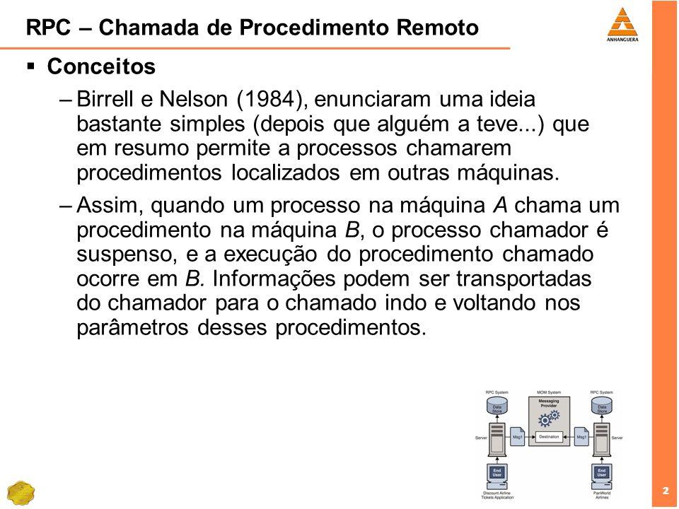2 2 RPC – Chamada de Procedimento Remoto Conceitos –Birrell e Nelson (1984), enunciaram uma ideia bastante simples (depois que alguém a teve...) que e