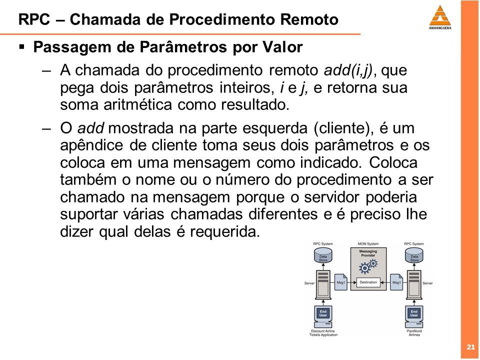 21 RPC – Chamada de Procedimento Remoto Passagem de Parâmetros por Valor –A chamada do procedimento remoto add(i,j), que pega dois parâmetros inteiros
