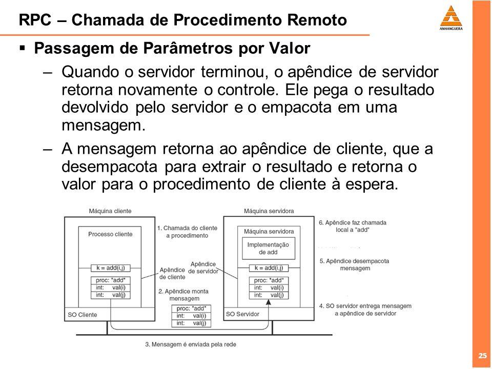 25 RPC – Chamada de Procedimento Remoto Passagem de Parâmetros por Valor –Quando o servidor terminou, o apêndice de servidor retorna novamente o contr