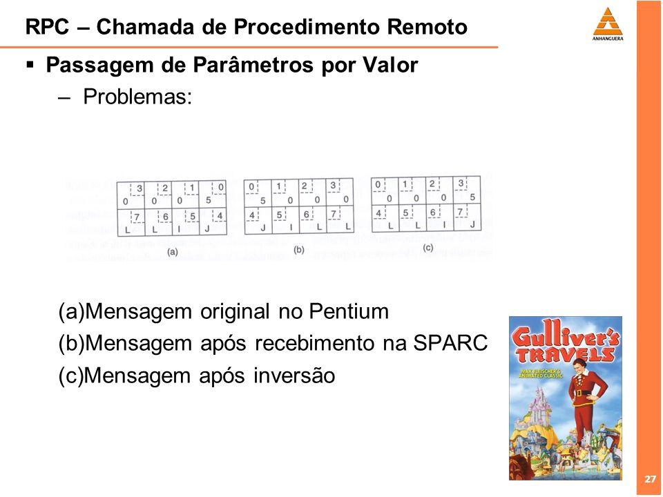 27 RPC – Chamada de Procedimento Remoto Passagem de Parâmetros por Valor –Problemas: (a)Mensagem original no Pentium (b)Mensagem após recebimento na S