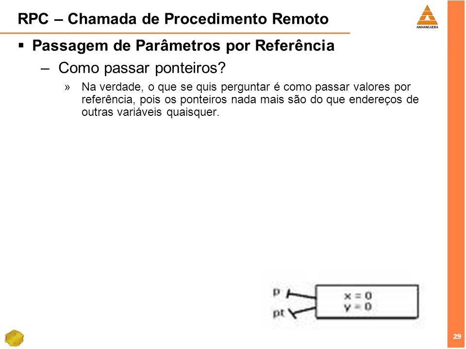 29 RPC – Chamada de Procedimento Remoto Passagem de Parâmetros por Referência –Como passar ponteiros? »Na verdade, o que se quis perguntar é como pass