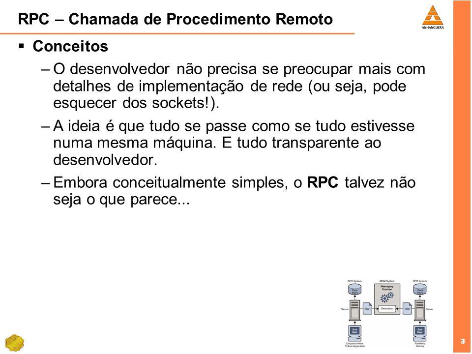 3 3 RPC – Chamada de Procedimento Remoto Conceitos –O desenvolvedor não precisa se preocupar mais com detalhes de implementação de rede (ou seja, pode