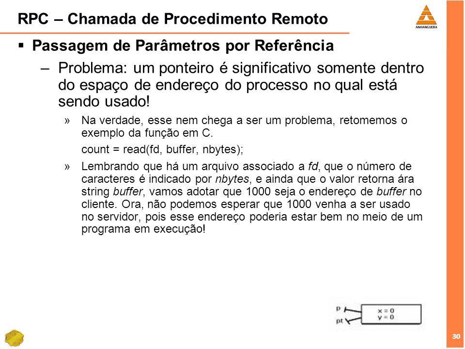30 RPC – Chamada de Procedimento Remoto Passagem de Parâmetros por Referência –Problema: um ponteiro é significativo somente dentro do espaço de ender