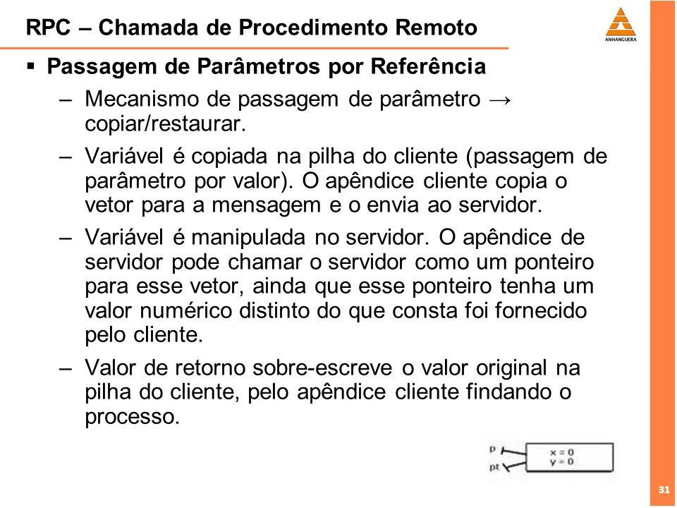 31 RPC – Chamada de Procedimento Remoto Passagem de Parâmetros por Referência –Mecanismo de passagem de parâmetro copiar/restaurar. –Variável é copiad