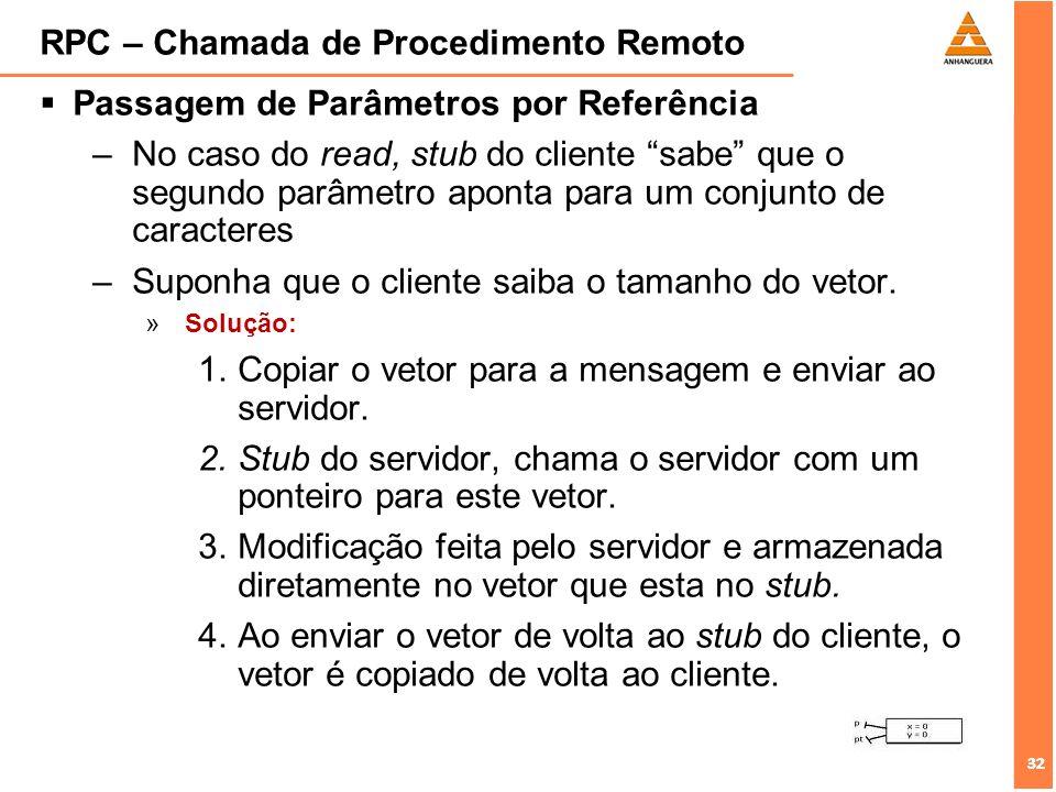 32 RPC – Chamada de Procedimento Remoto Passagem de Parâmetros por Referência –No caso do read, stub do cliente sabe que o segundo parâmetro aponta pa
