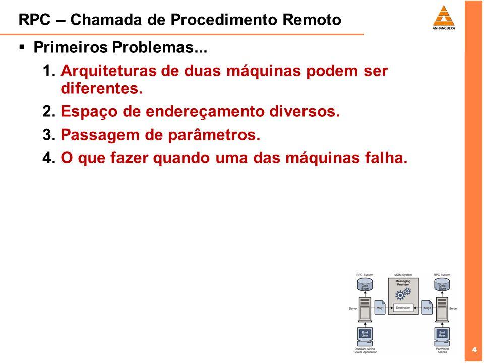4 4 RPC – Chamada de Procedimento Remoto Primeiros Problemas... 1.Arquiteturas de duas máquinas podem ser diferentes. 2.Espaço de endereçamento divers