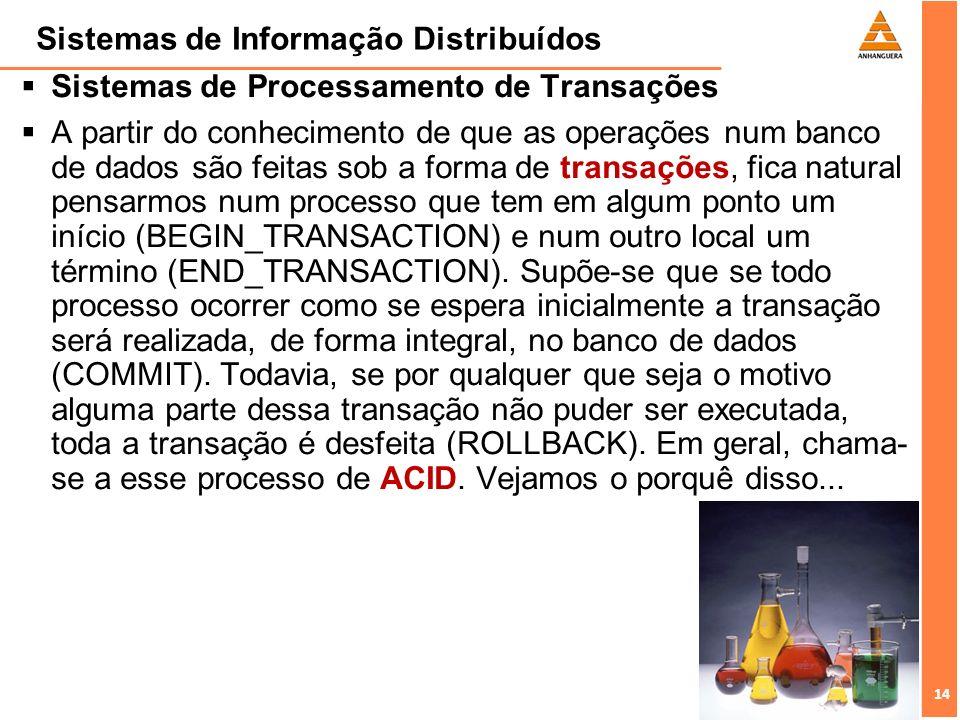 14 Sistemas de Informação Distribuídos Sistemas de Processamento de Transações A partir do conhecimento de que as operações num banco de dados são fei