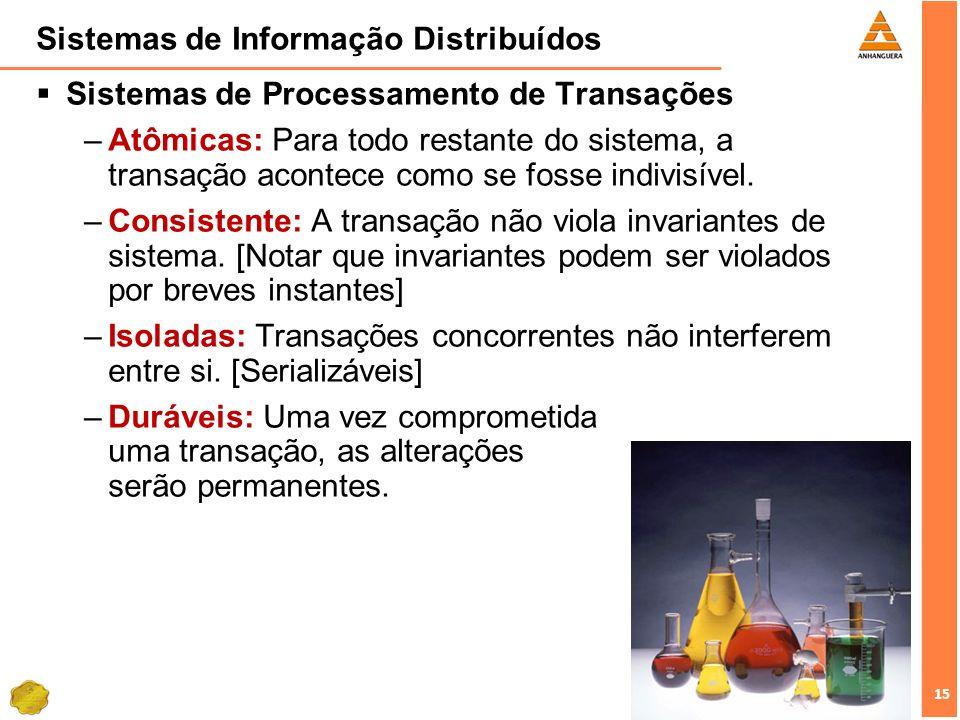 15 Sistemas de Informação Distribuídos Sistemas de Processamento de Transações –Atômicas: Para todo restante do sistema, a transação acontece como se