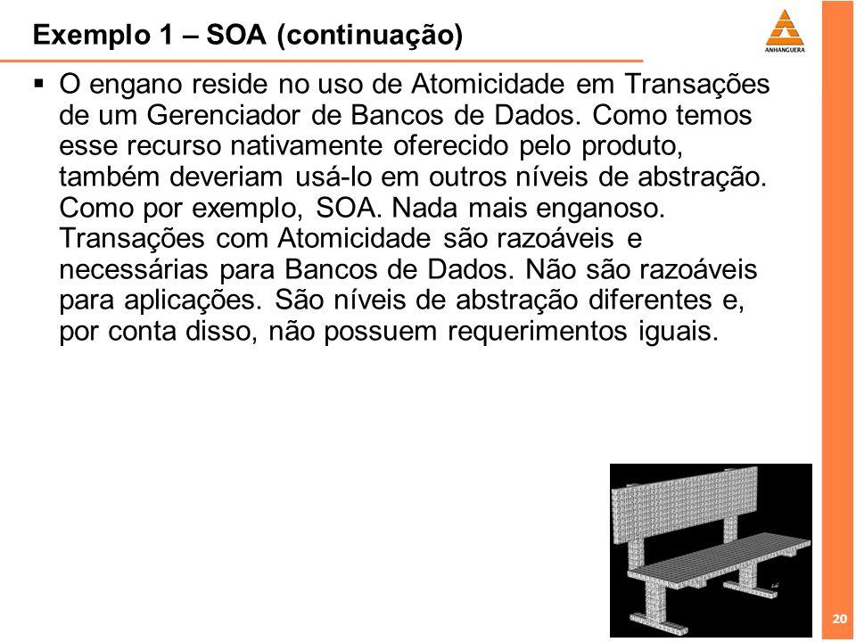 20 Exemplo 1 – SOA (continuação) O engano reside no uso de Atomicidade em Transações de um Gerenciador de Bancos de Dados. Como temos esse recurso nat