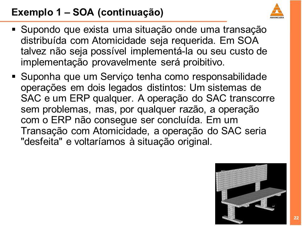 22 Exemplo 1 – SOA (continuação) Supondo que exista uma situação onde uma transação distribuída com Atomicidade seja requerida. Em SOA talvez não seja