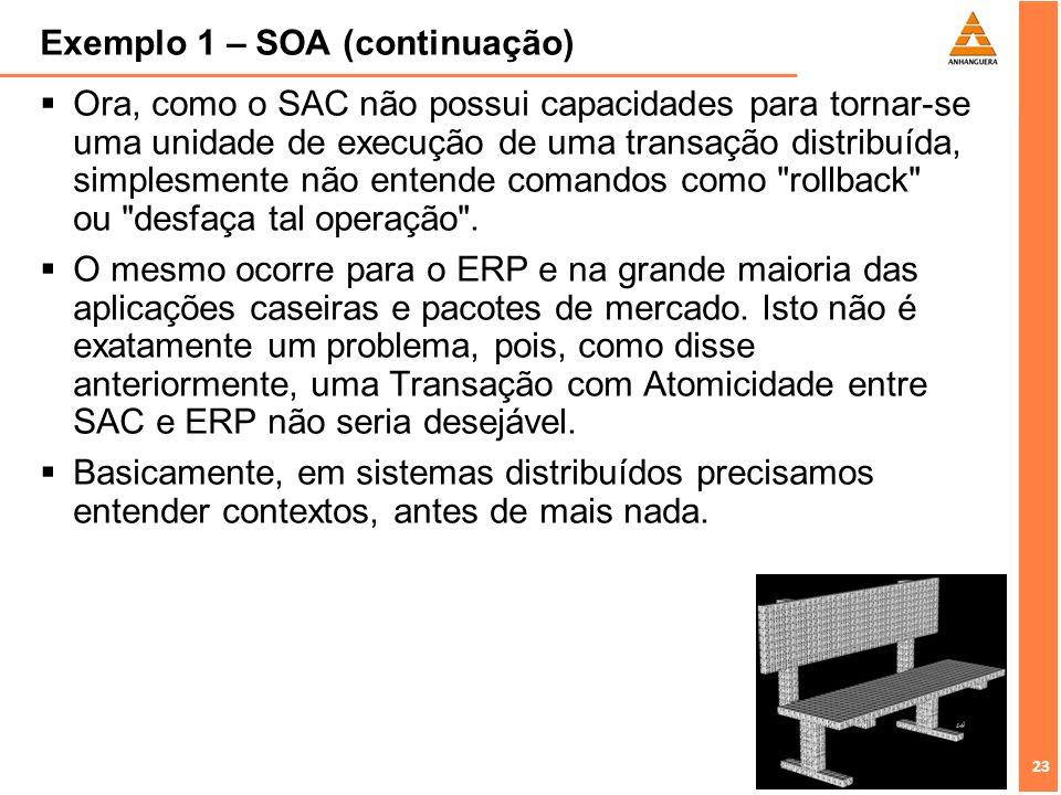 23 Exemplo 1 – SOA (continuação) Ora, como o SAC não possui capacidades para tornar-se uma unidade de execução de uma transação distribuída, simplesme