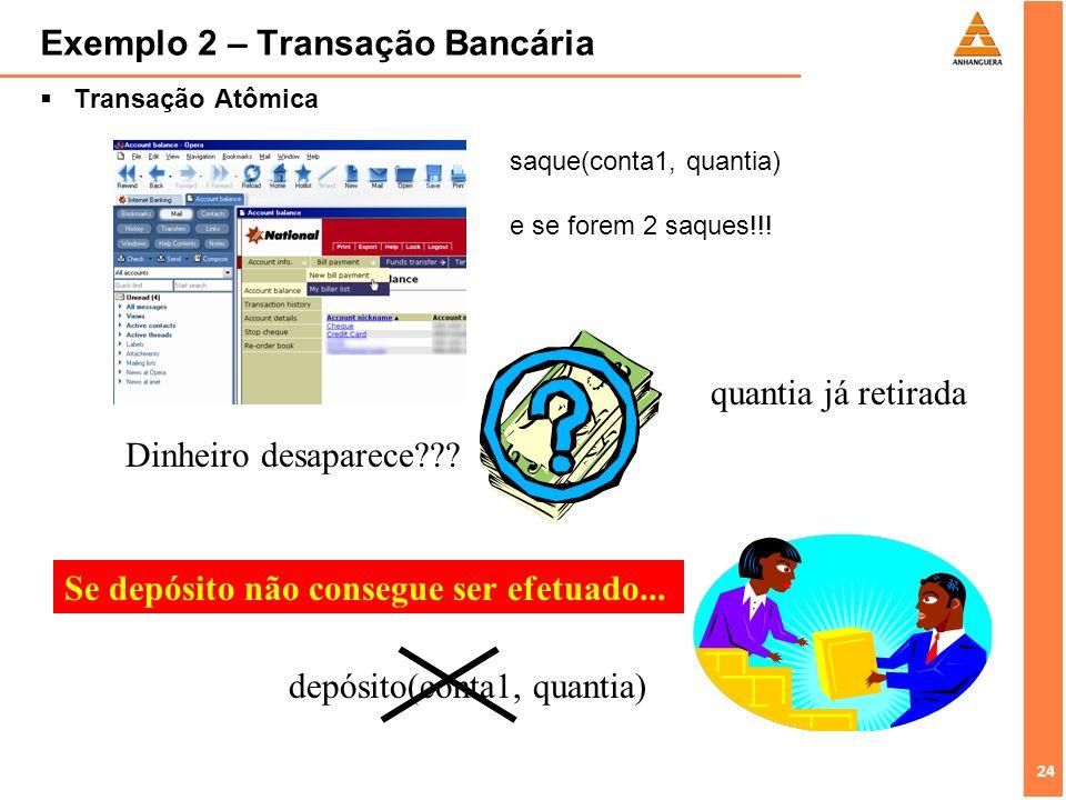 24 Exemplo 2 – Transação Bancária Transação Atômica quantia já retirada Dinheiro desaparece??? depósito(conta1, quantia) Se depósito não consegue ser