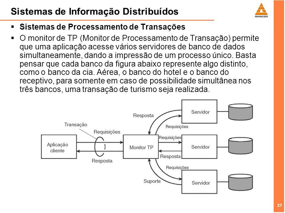 27 Sistemas de Informação Distribuídos Sistemas de Processamento de Transações O monitor de TP (Monitor de Processamento de Transação) permite que uma