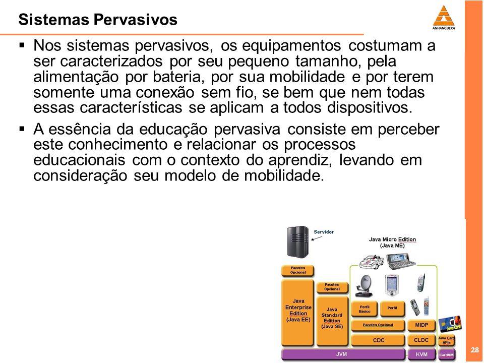 28 Sistemas Pervasivos Nos sistemas pervasivos, os equipamentos costumam a ser caracterizados por seu pequeno tamanho, pela alimentação por bateria, p