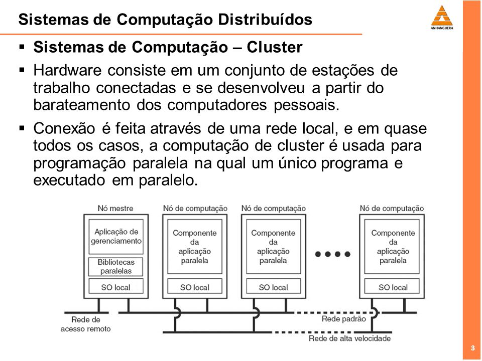 4 4 Sistemas de Computação Distribuídos Sistemas de Computação – Cluster Exemplo: Sistemas Beowulf baseado em Linux, onde cada cluster consiste em um conjunto de nós de computação controlados e acessados por meio de um único só mestre, cujas tarefas são manipular e alocar determinados programas paralelos.