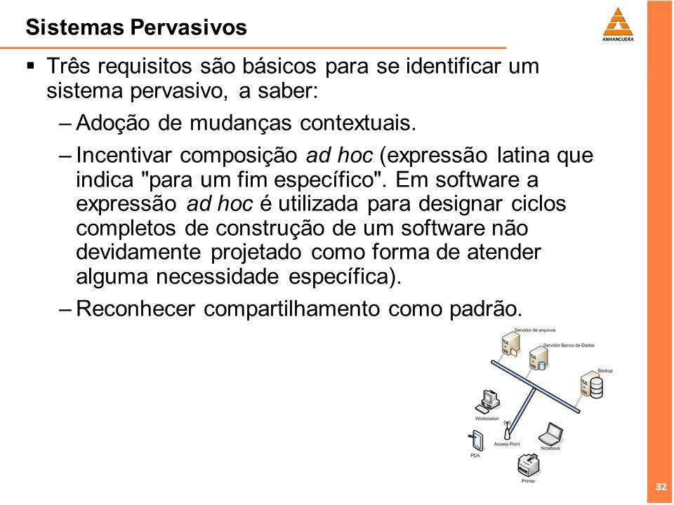 32 Sistemas Pervasivos Três requisitos são básicos para se identificar um sistema pervasivo, a saber: –Adoção de mudanças contextuais. –Incentivar com