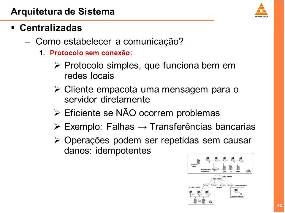 41 Arquitetura de Sistema Centralizadas –Como estabelecer a comunicação? 1.Protocolo sem conexão: Protocolo simples, que funciona bem em redes locais