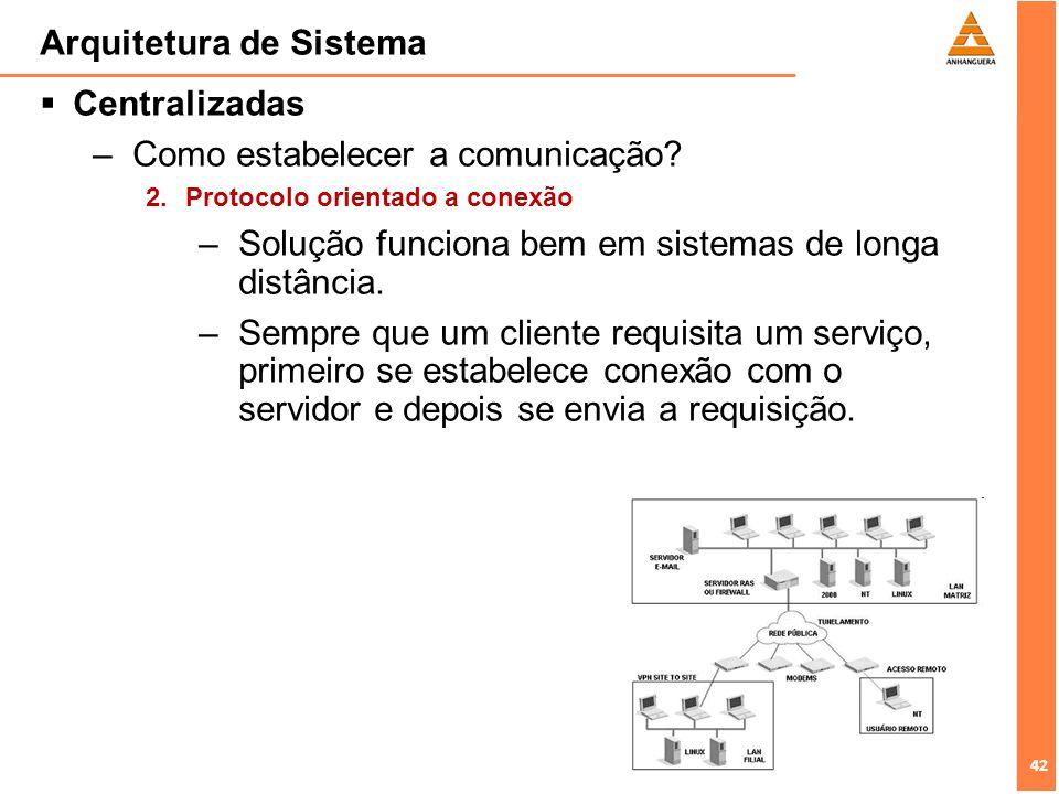 42 Arquitetura de Sistema Centralizadas –Como estabelecer a comunicação? 2. Protocolo orientado a conexão –Solução funciona bem em sistemas de longa d