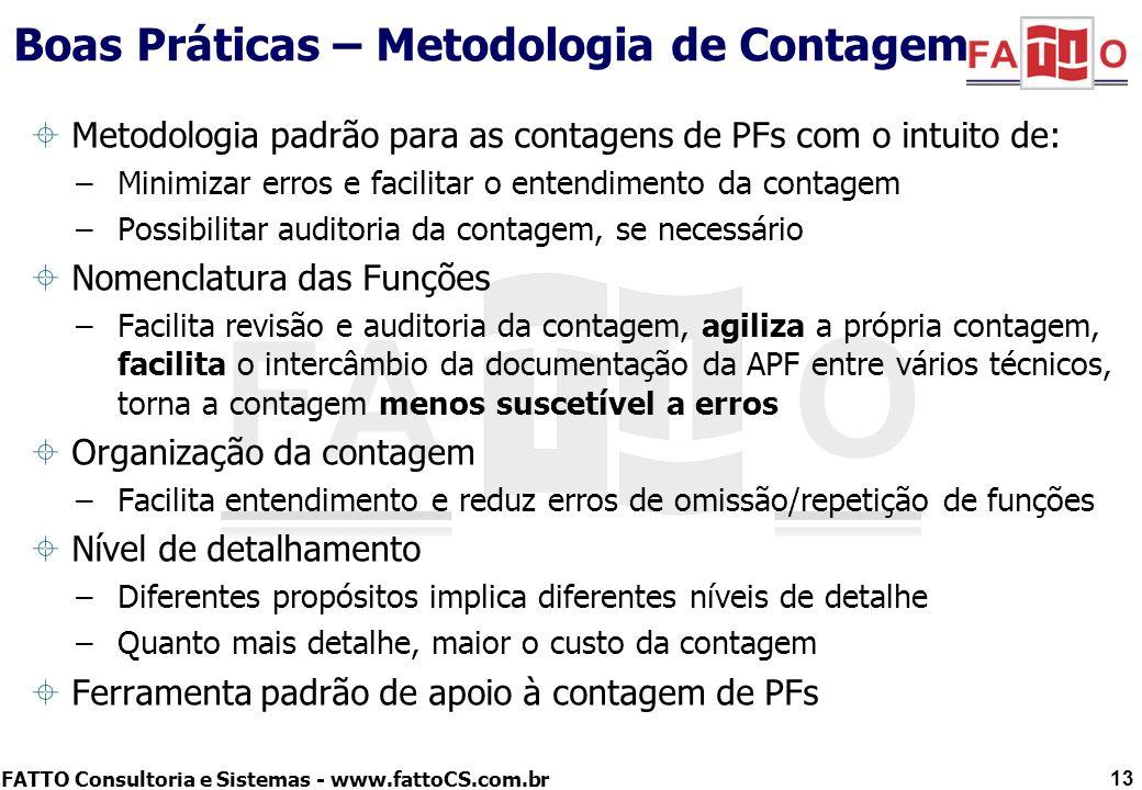 FATTO Consultoria e Sistemas - www.fattoCS.com.br Boas Práticas – Metodologia de Contagem Metodologia padrão para as contagens de PFs com o intuito de