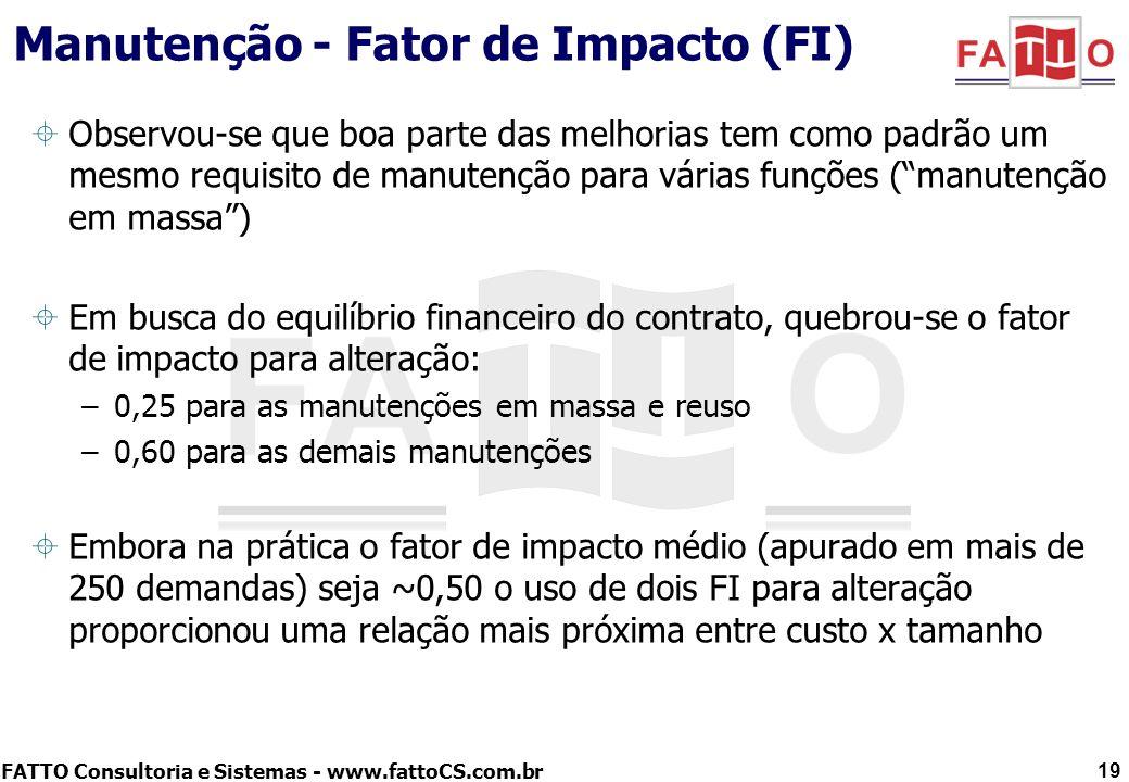 FATTO Consultoria e Sistemas - www.fattoCS.com.br Manutenção - Fator de Impacto (FI) Observou-se que boa parte das melhorias tem como padrão um mesmo