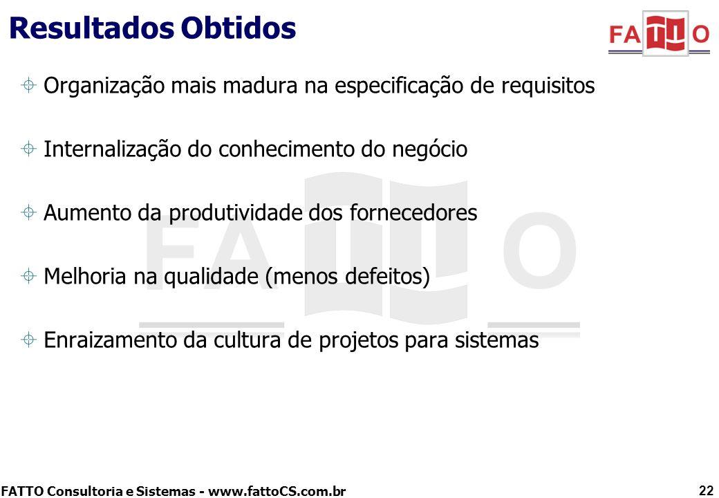 FATTO Consultoria e Sistemas - www.fattoCS.com.br Resultados Obtidos Organização mais madura na especificação de requisitos Internalização do conhecim