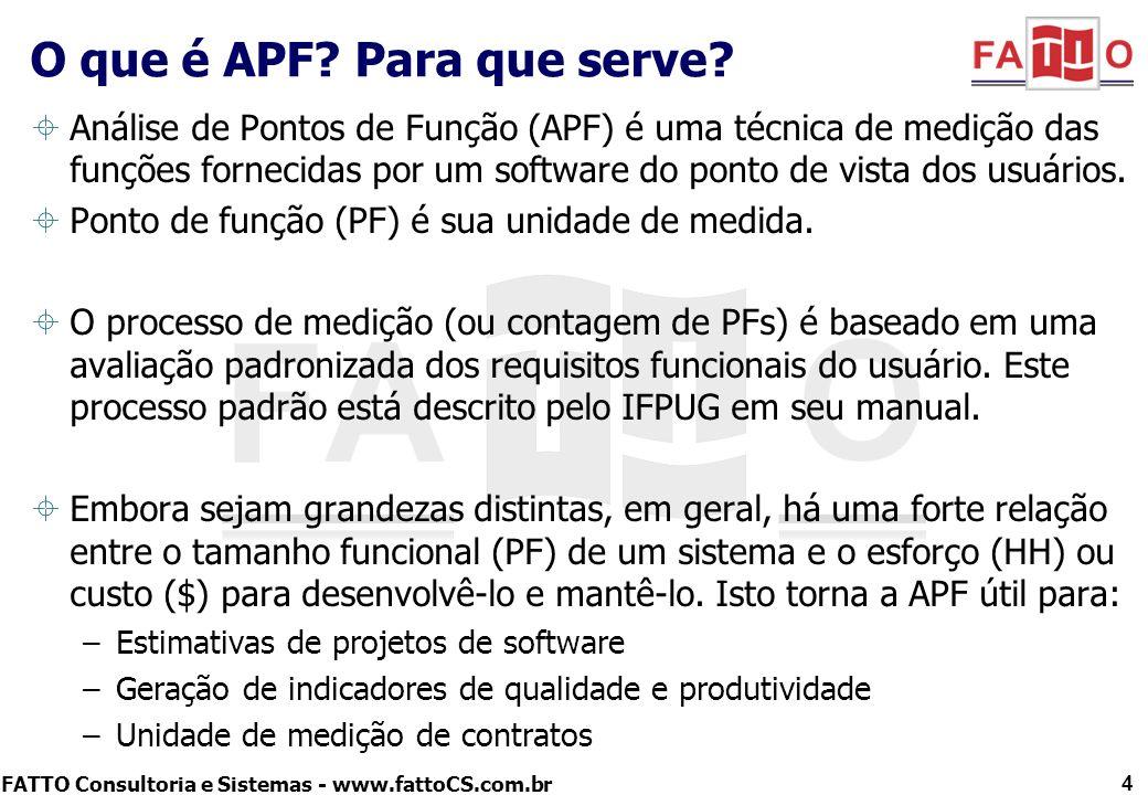 FATTO Consultoria e Sistemas - www.fattoCS.com.br Análise de Pontos de Função (APF) é uma técnica de medição das funções fornecidas por um software do