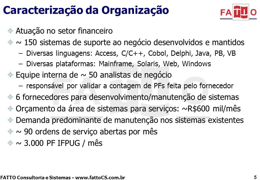FATTO Consultoria e Sistemas - www.fattoCS.com.br Caracterização da Organização Atuação no setor financeiro ~ 150 sistemas de suporte ao negócio desen