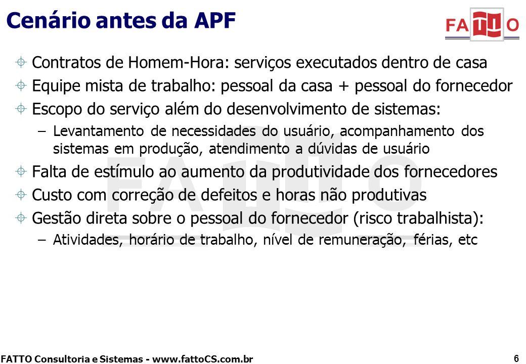 FATTO Consultoria e Sistemas - www.fattoCS.com.br Cenário antes da APF Contratos de Homem-Hora: serviços executados dentro de casa Equipe mista de tra