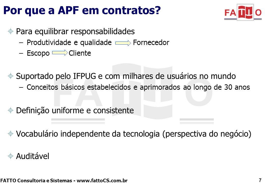 FATTO Consultoria e Sistemas - www.fattoCS.com.br Por que a APF em contratos? Para equilibrar responsabilidades –Produtividade e qualidade Fornecedor