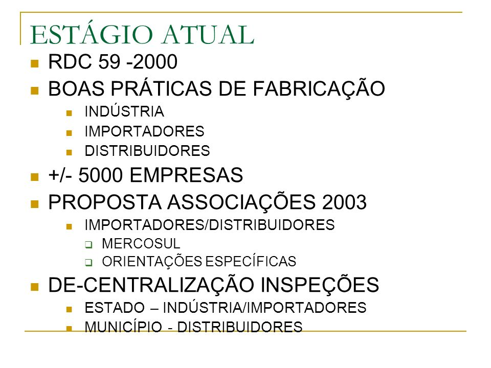 ESTÁGIO ATUAL RDC 59 -2000 BOAS PRÁTICAS DE FABRICAÇÃO INDÚSTRIA IMPORTADORES DISTRIBUIDORES +/- 5000 EMPRESAS PROPOSTA ASSOCIAÇÕES 2003 IMPORTADORES/DISTRIBUIDORES MERCOSUL ORIENTAÇÕES ESPECÍFICAS DE-CENTRALIZAÇÃO INSPEÇÕES ESTADO – INDÚSTRIA/IMPORTADORES MUNICÍPIO - DISTRIBUIDORES