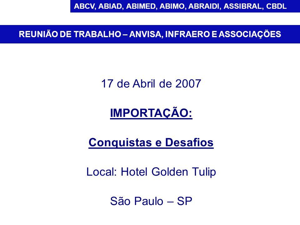 17 de Abril de 2007 IMPORTAÇÃO: Conquistas e Desafios Local: Hotel Golden Tulip São Paulo – SP REUNIÃO DE TRABALHO – ANVISA, INFRAERO E ASSOCIAÇÕES AB