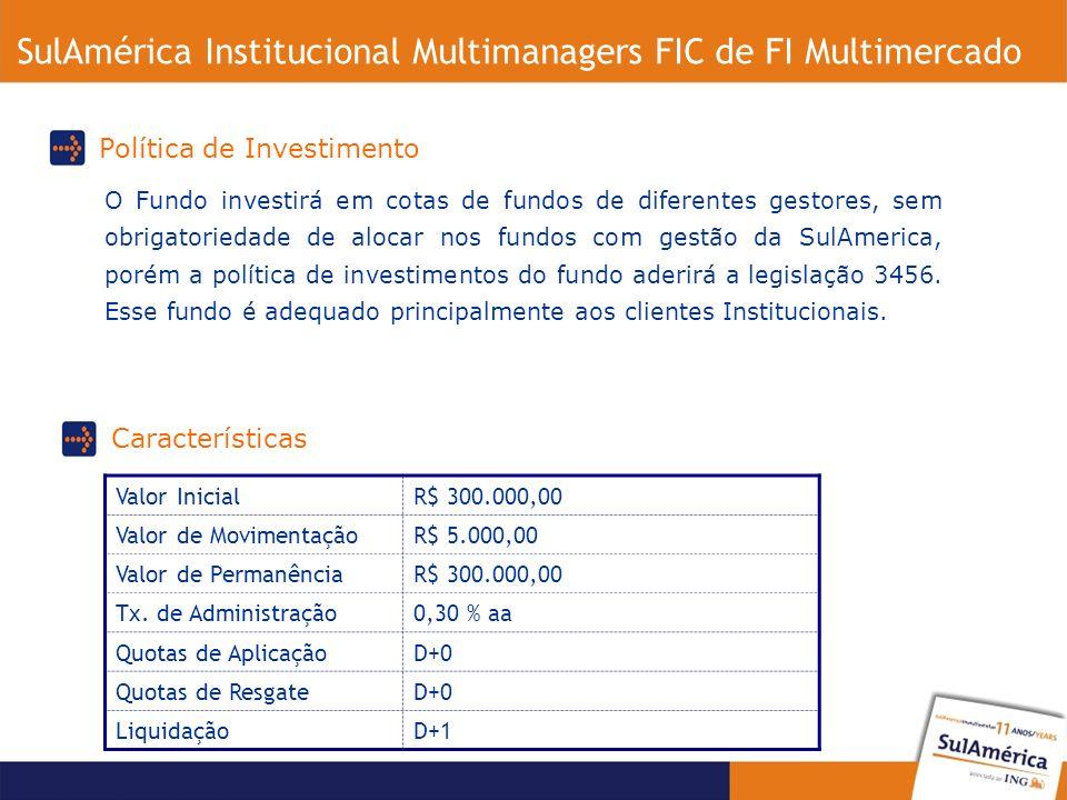 O Fundo investirá em cotas de fundos de diferentes gestores, sem obrigatoriedade de alocar nos fundos com gestão da SulAmerica, porém a política de investimentos do fundo aderirá a legislação 3456.