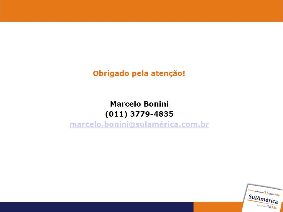 Obrigado pela atenção! Marcelo Bonini (011) 3779-4835 marcelo.bonini@sulamérica.com.br