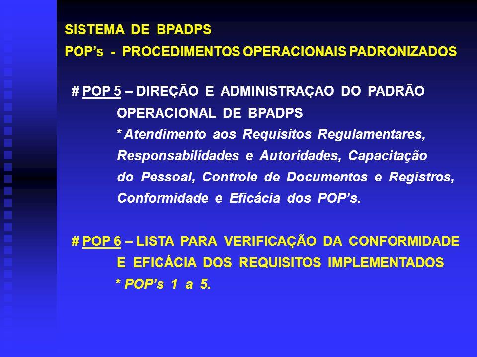 SISTEMA DE BPADPS POPs - PROCEDIMENTOS OPERACIONAIS PADRONIZADOS # POP 5 – DIREÇÃO E ADMINISTRAÇAO DO PADRÃO OPERACIONAL DE BPADPS * Atendimento aos R