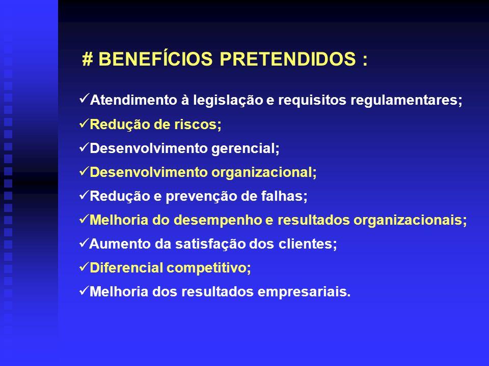 # BENEFÍCIOS PRETENDIDOS : Atendimento à legislação e requisitos regulamentares; Redução de riscos; Desenvolvimento gerencial; Desenvolvimento organiz