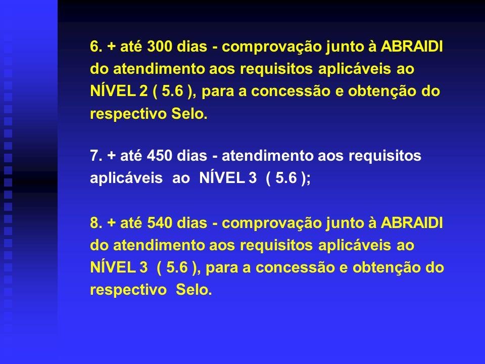 7. + até 450 dias - atendimento aos requisitos aplicáveis ao NÍVEL 3 ( 5.6 ); 8. + até 540 dias - comprovação junto à ABRAIDI do atendimento aos requi