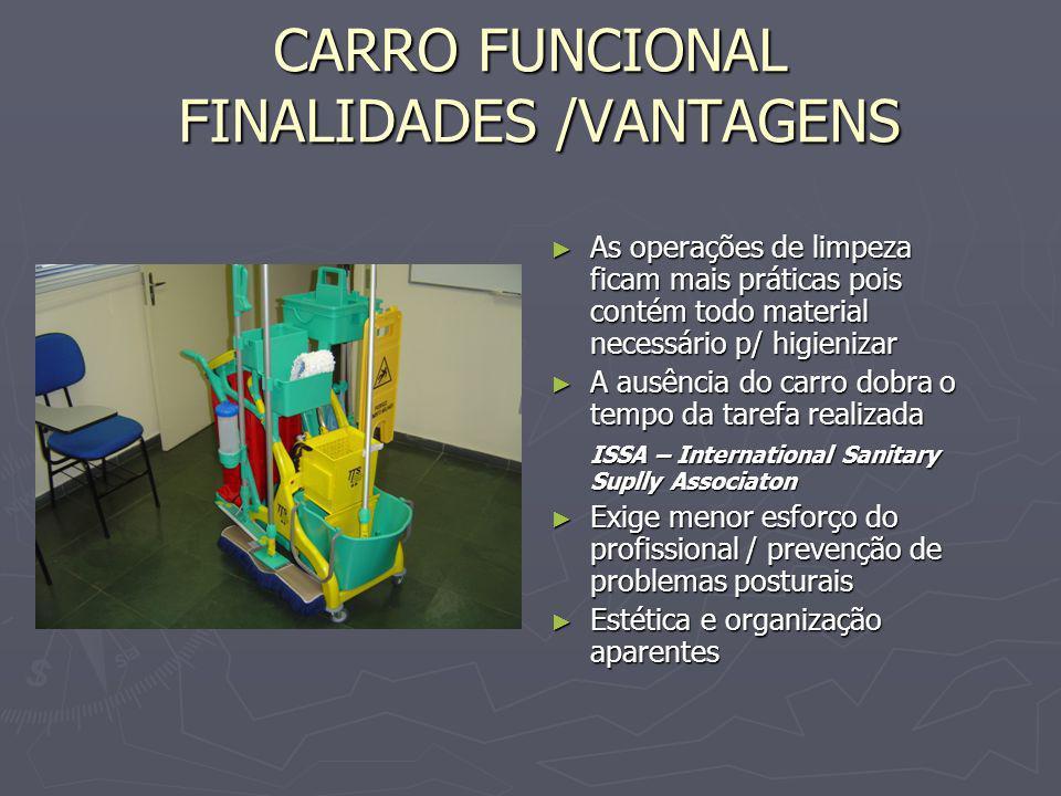 CARRO FUNCIONAL FINALIDADES /VANTAGENS As operações de limpeza ficam mais práticas pois contém todo material necessário p/ higienizar A ausência do ca