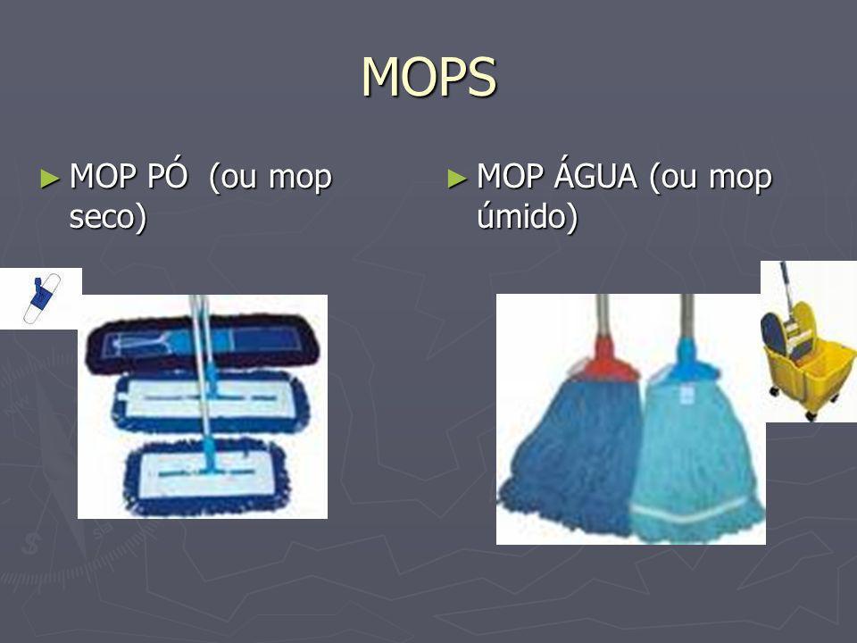 MOPS MOP PÓ(ou mop seco) MOP PÓ(ou mop seco) MOP ÁGUA (ou mop úmido)