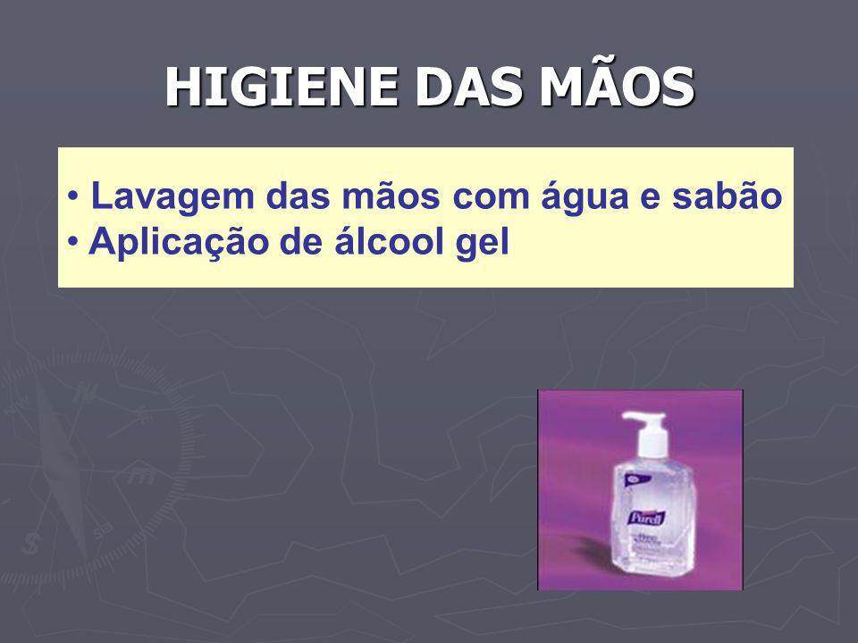 HIGIENE DAS MÃOS Lavagem das mãos com água e sabão Aplicação de álcool gel